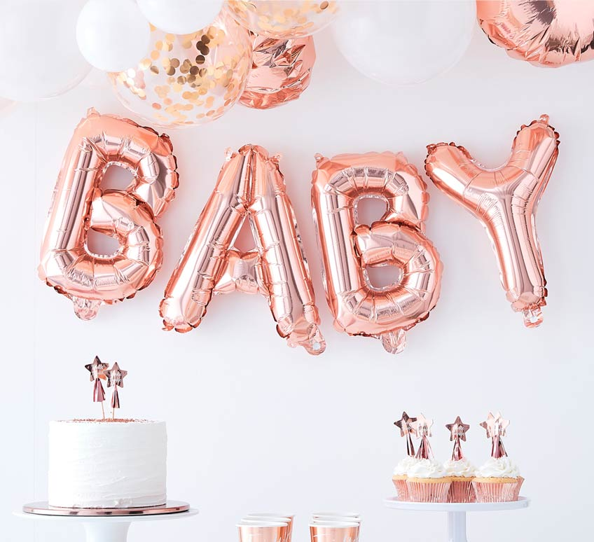 Roségoldene Partydeko für alle Anlässe rund ums Baby