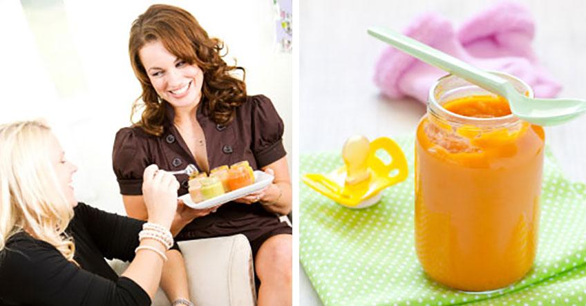 Babybrei testen und dabei auf der Babyparty mit Spielen viel Spaß haben © l: iStockphoto.com/sjlocke, © r: iStockphoto.com/CGissemann