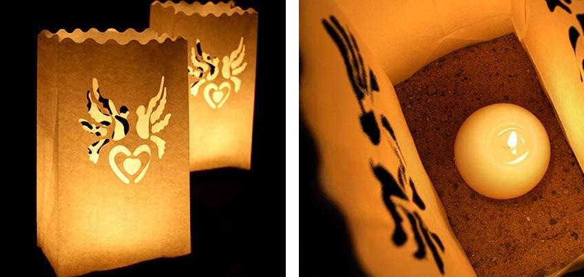 Stimmungsvolles Licht auf der Taufe mit schönen Papierlaternen