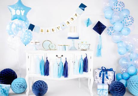 Ballon, Wabenbälle und mehr lassen deine Babyparty in Hellblau erstrahlen