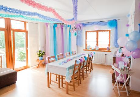 Baby Shower Raumdeko in wunderschön zartem Pastell
