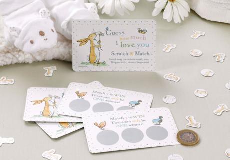 Highlight auf der Babyparty - Rubbellose mit süßem Bilderbuch-Häschen
