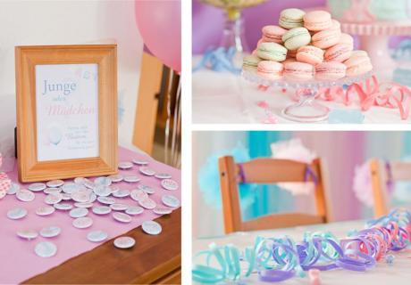 Deko und Süßes für eine Babyshower in Pastell